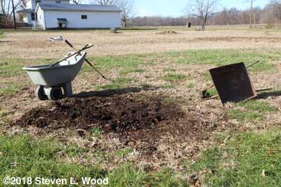 Compost left on ground
