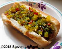 Hot dog with homemade relish