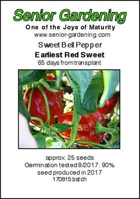 Earliest Red Sweet pepper envelope-packet