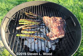 Grilling steak and asparagus