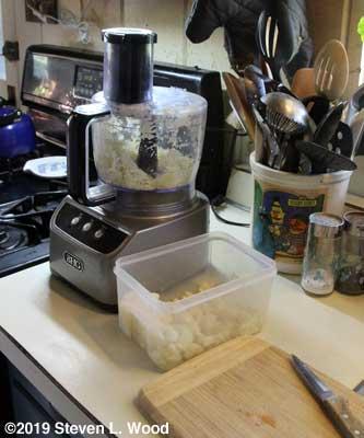 Chopping garlic in food processor