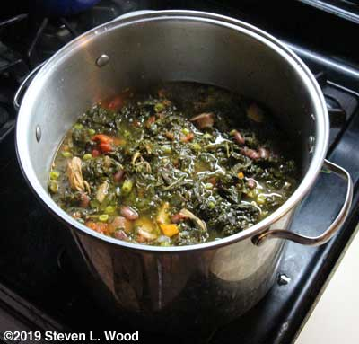 Kale soup before potatoes added