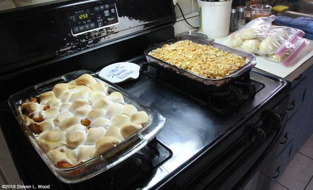 Butternut yams, green bean casserole, and yeast rolls