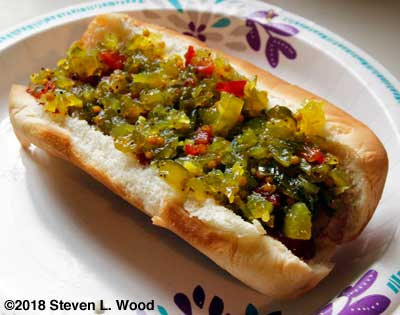 Homemade relish on hot dog