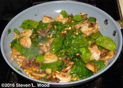 Shrimp and spinach added